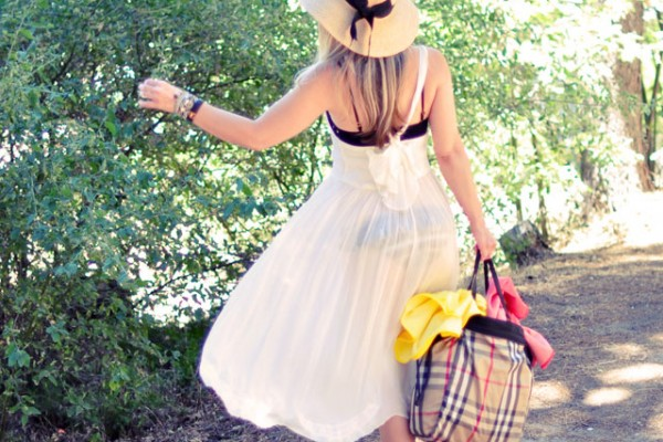 dress by the lake - burberry bag