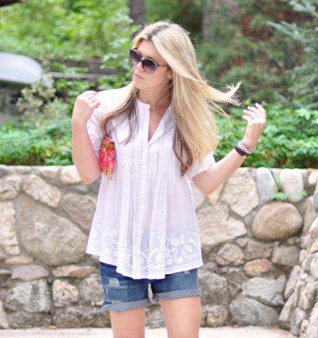 easy boyfriend shorts and boho blouse