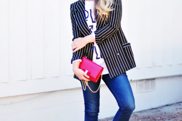 easy t-shirt and jeans -blazer-lace ups