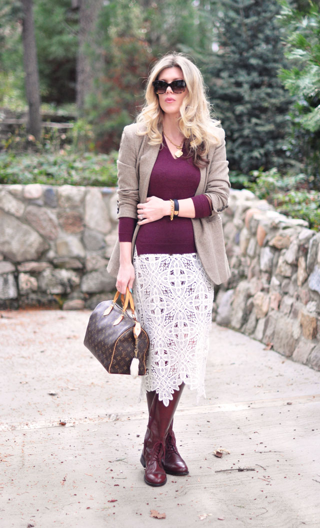 equestrian look with lace skirt