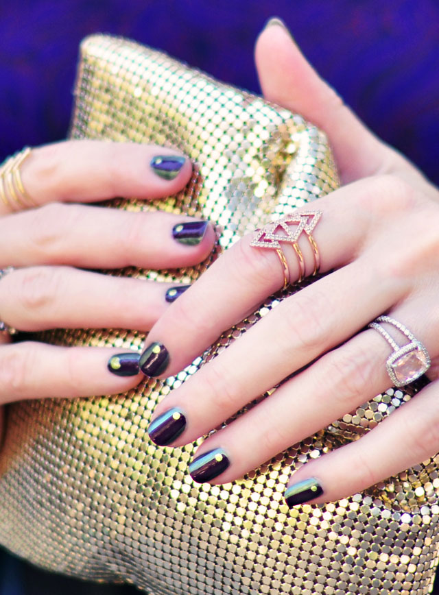 fall nails-green+purple+gold manicure