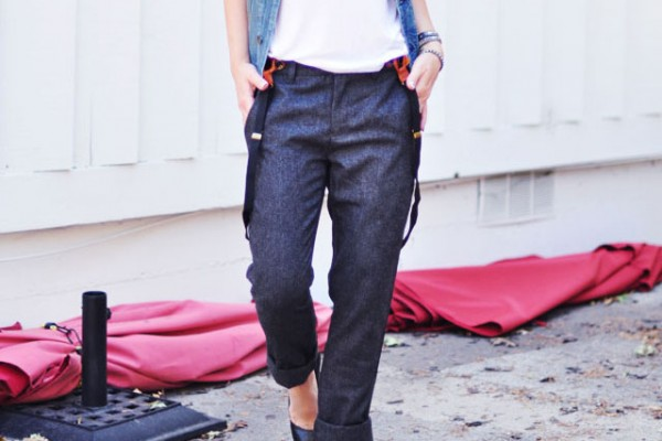 fancy tomboy-wool pants with suspenders