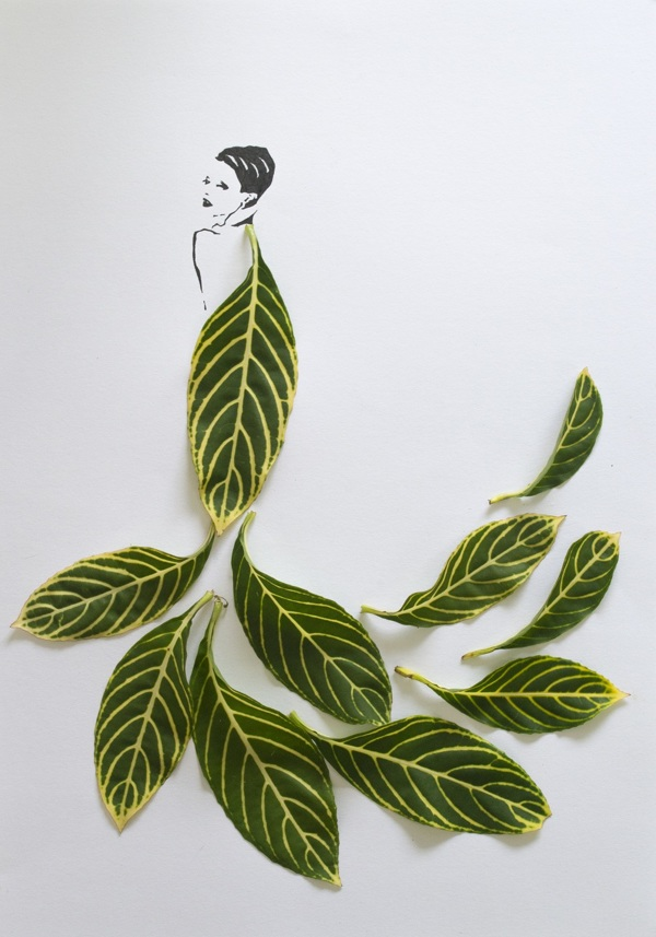 fashion illustrations with leaves 4