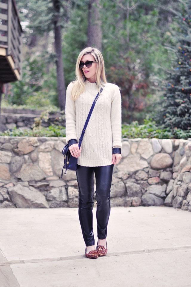 faux leather pants-leopard flats