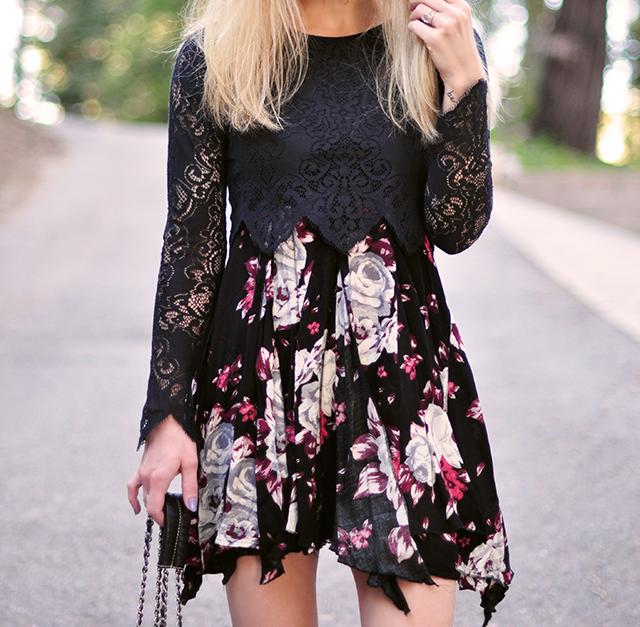 floral dress_lace crop top