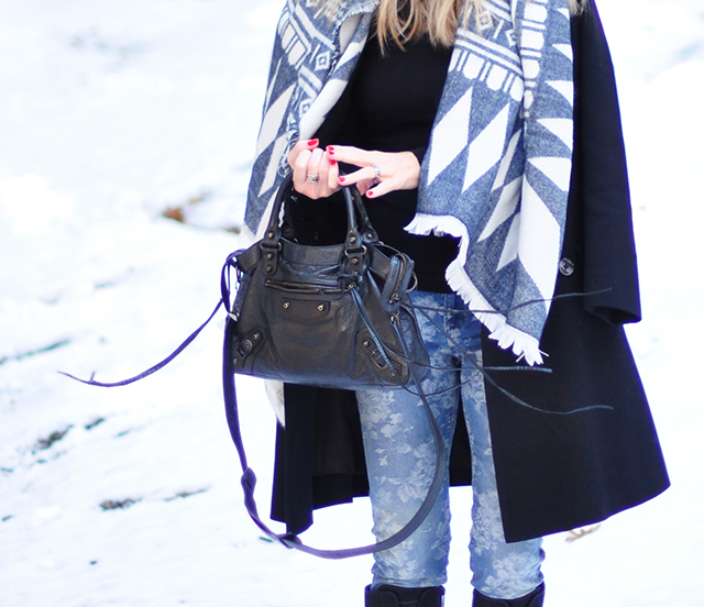 floral jeans_balenciaga bag_style in the snow