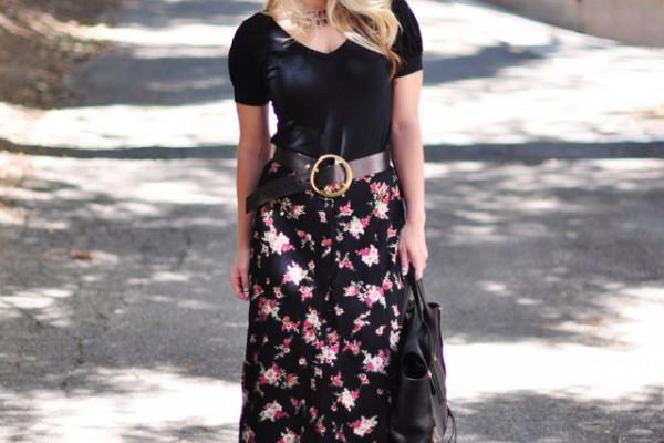 floral maxi skirt-gladiator sandals