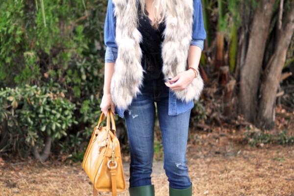 fur vest-hat -rain boots