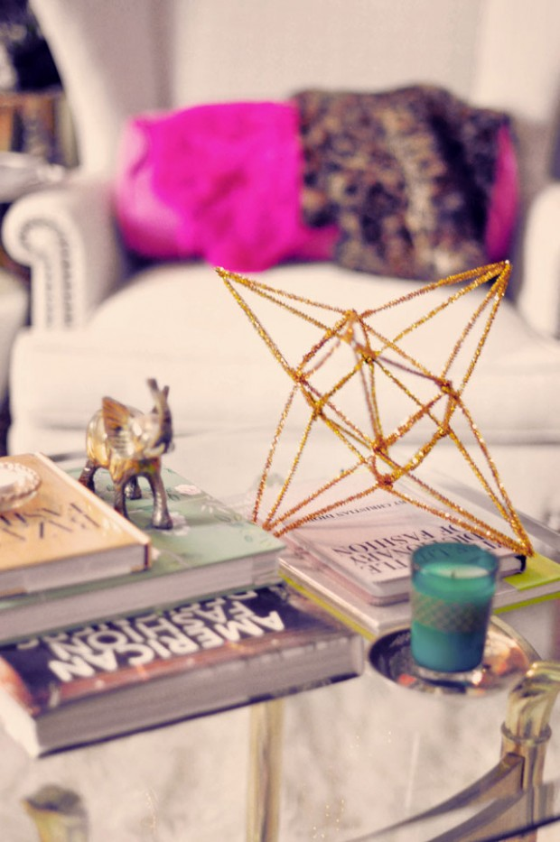 gold 3d star decor diy-3