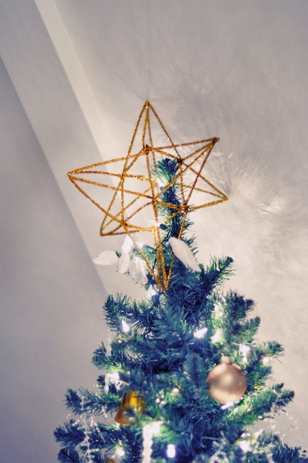 gold star tree topper DIY 3d pipe cleaner