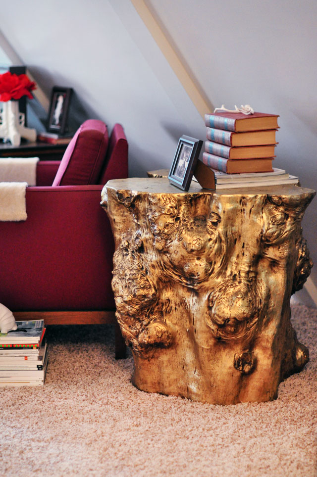 gold stump side accent table