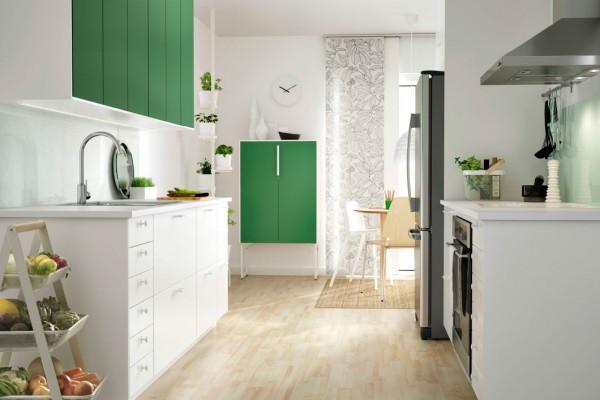 green and white mod kitchen