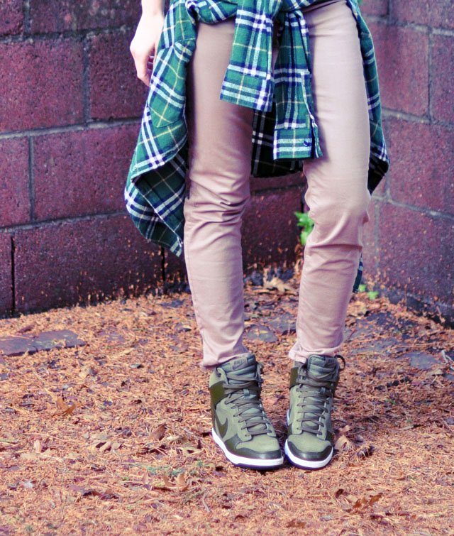 green nike wedge sneakers-plaid flannel