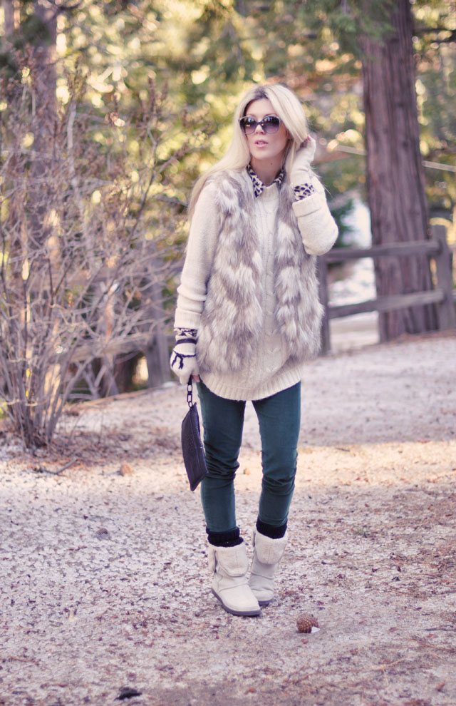 green skinnycords-  fur vest
