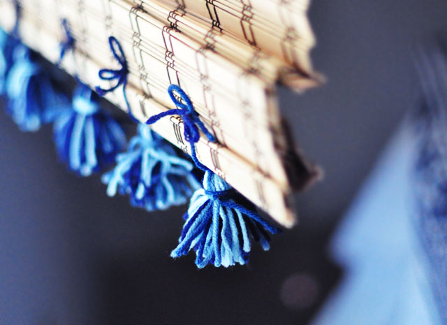 hand-tied tassels on bamboo shades -curtain DIY