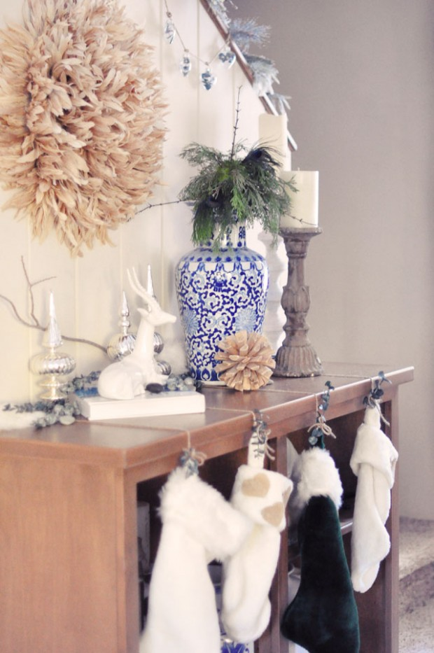 hanging stocking from shelves not mantel