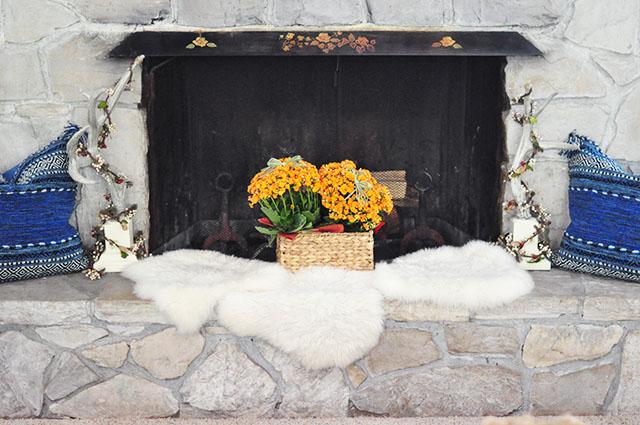 hearth decor transitioning into fall
