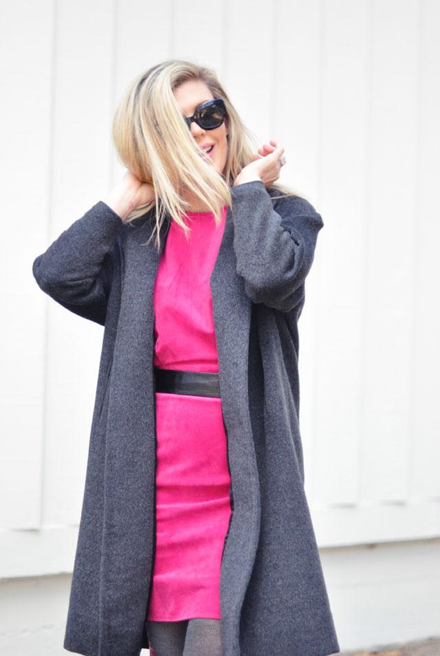 hot pink suede dress vintage gray coat-1