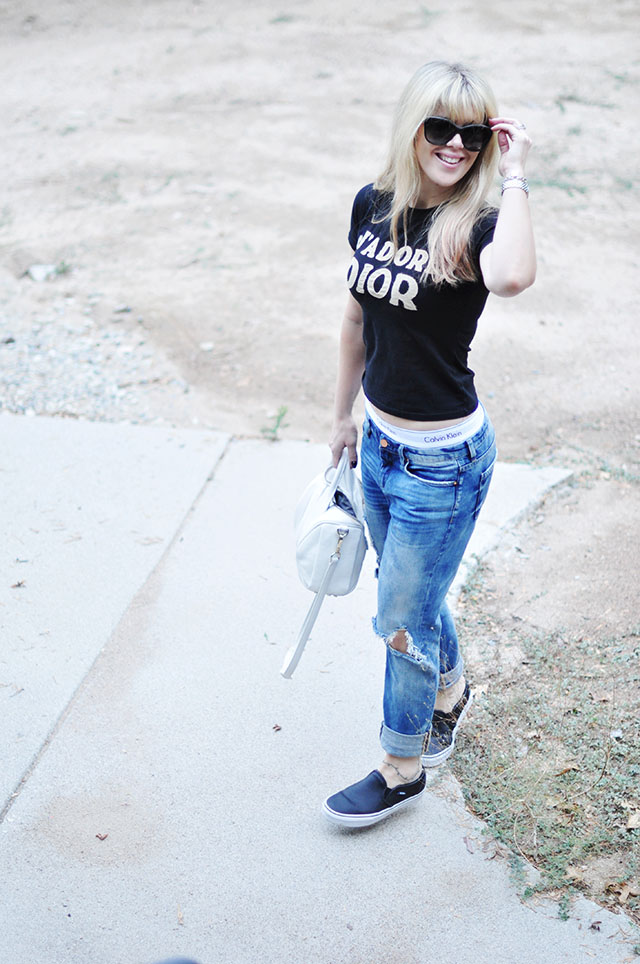 jeans and a short t-shirt