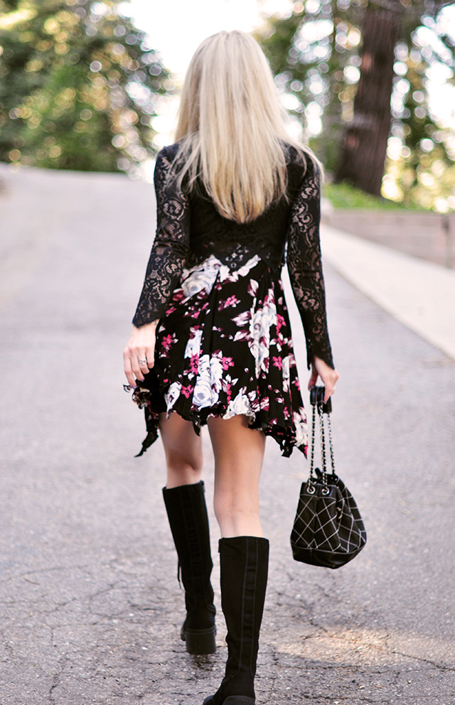 knee high combat boots_floral dress_90s