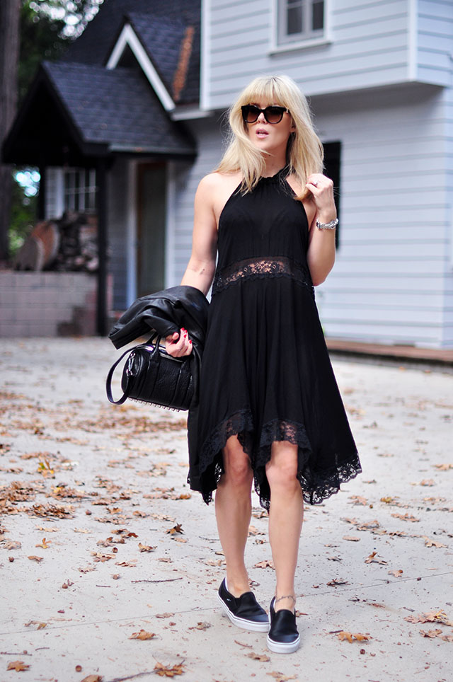 lace cutout dress with vans sneakers