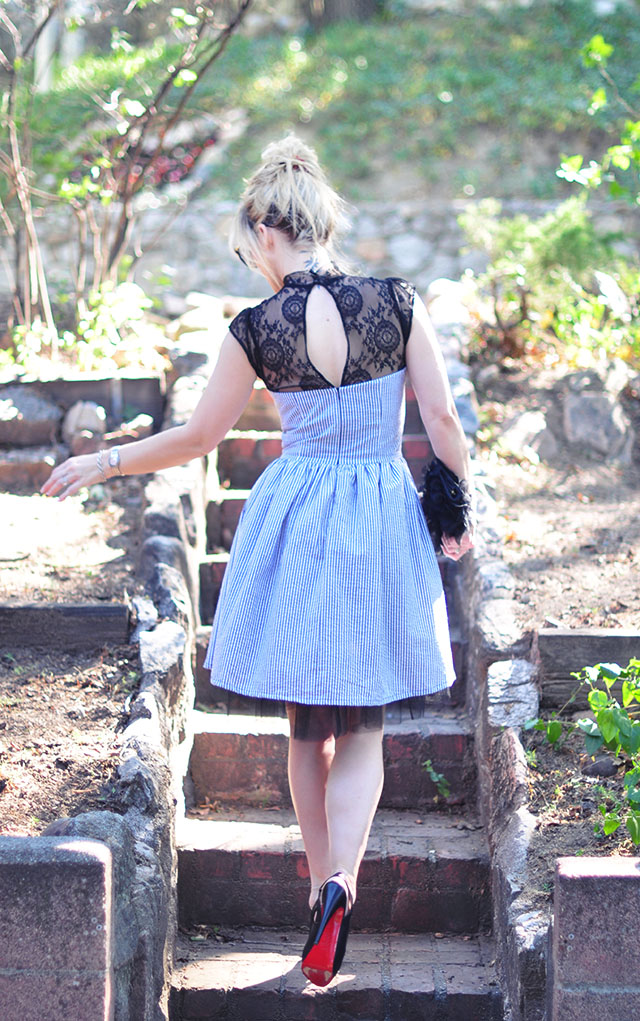 lace keyhole dress with seersucker and tulle_red soles