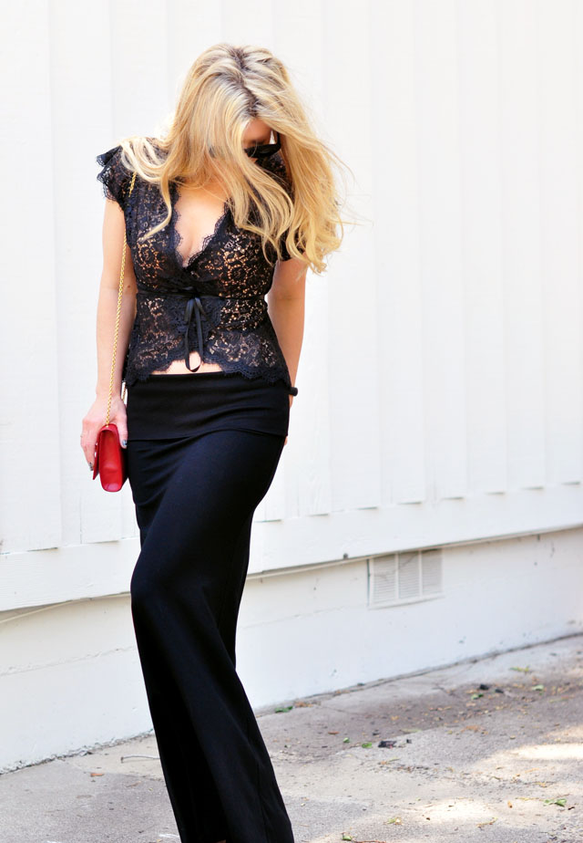 lace top and black maxi  skirt