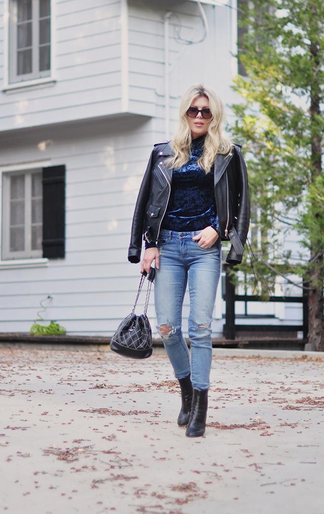 leather-biker-jacket_blue-crushed-velvet-top_denim_chanel-bag