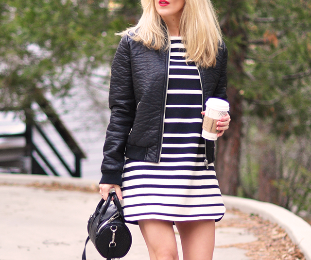 leather bomber jacket _ striped dress_red lips