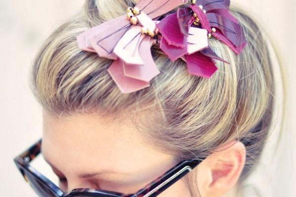 leather butterflies in hair - top knot- bun