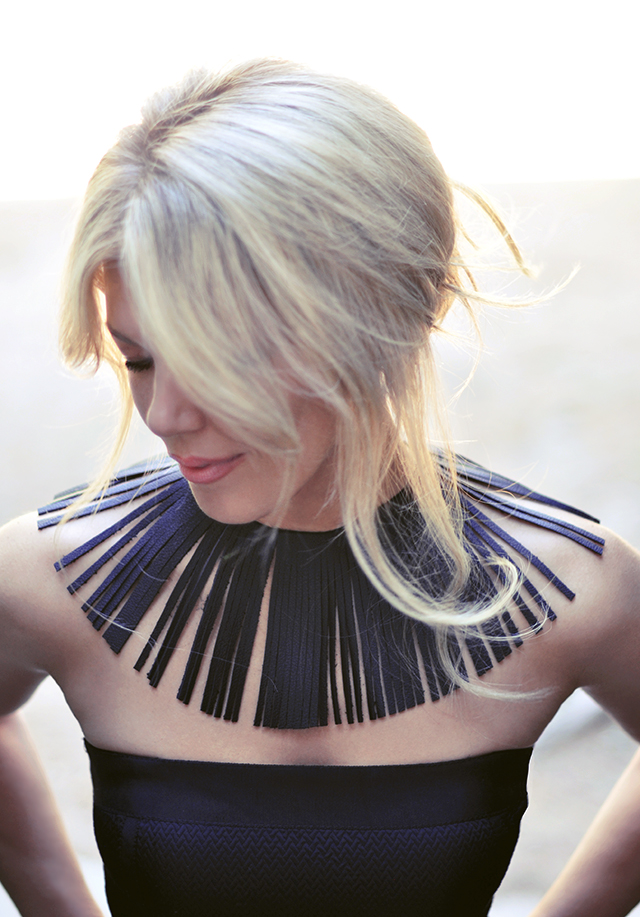 leather-fringe-collar-necklace-diy-with-black-strapless-dress