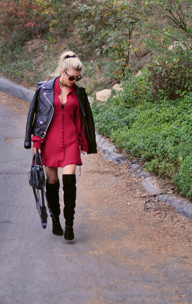 long-sleeve-red-dress-with-leather-jacket