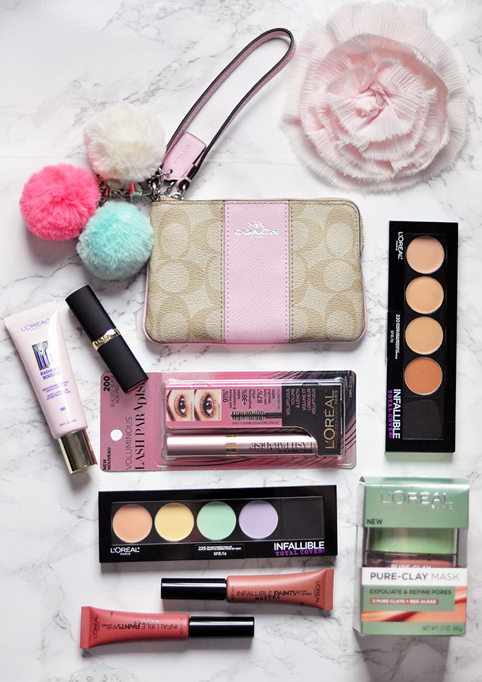coach wallet wristlet bag - L'Oreal Paris makeup - lipstick, concealer, contour, skin mask - blog giveaway love maegan