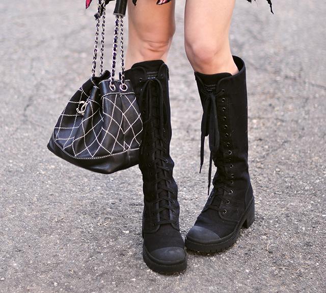 marc jacobs combat boots+vintage chanel bag