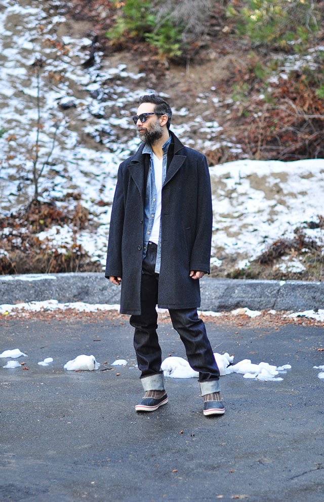 menswear-winter coat and jeans