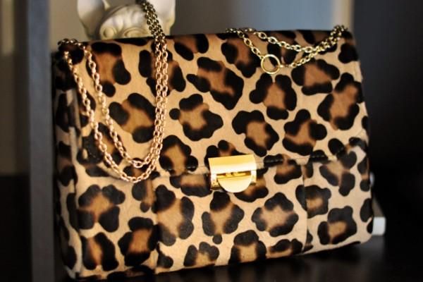 merkin leopard print calf hair bag purse clutch