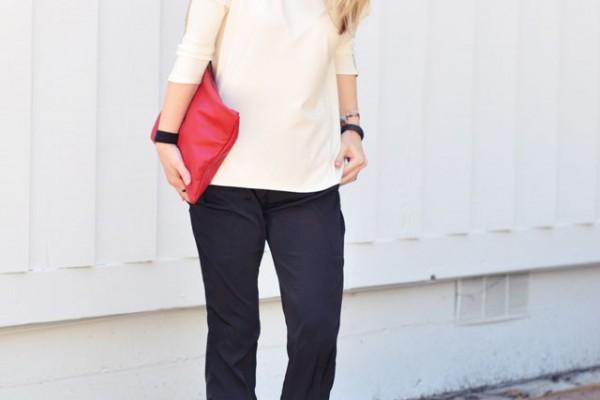 minimalist look -black white red