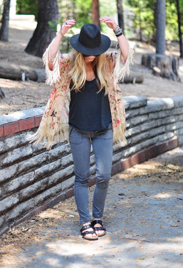 moto jeans-birkenstocks-fringe kimono-hat