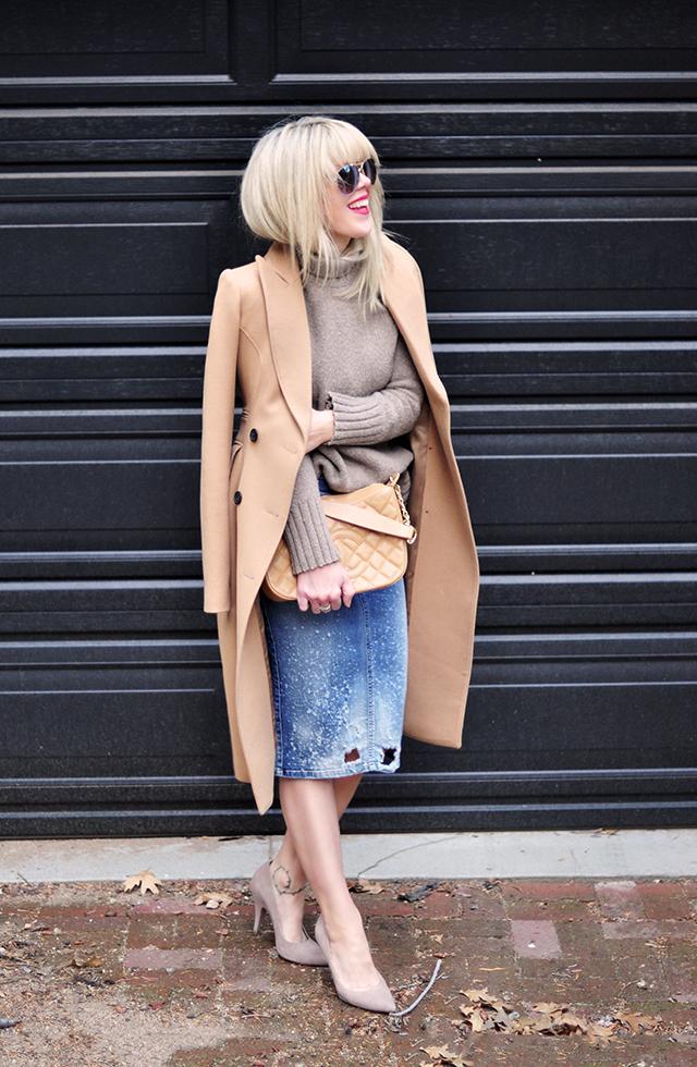 neutral look_vintage chanel_denim skirt_camel coat