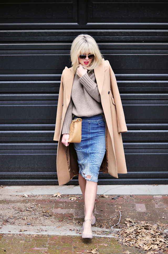 neutrals_camel coat_ denim skirt_chanel bag