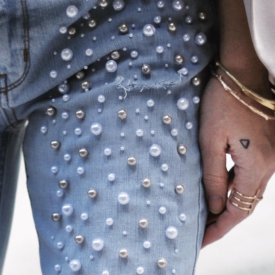 DIY Pearl Embellished Jeans Inspired By Paige Denim