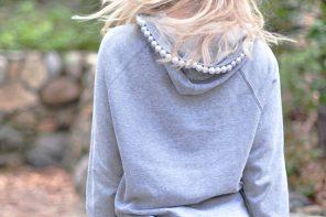 DIY Pearl Hoodie Sweatshirt Inspired by Chiara Ferragni