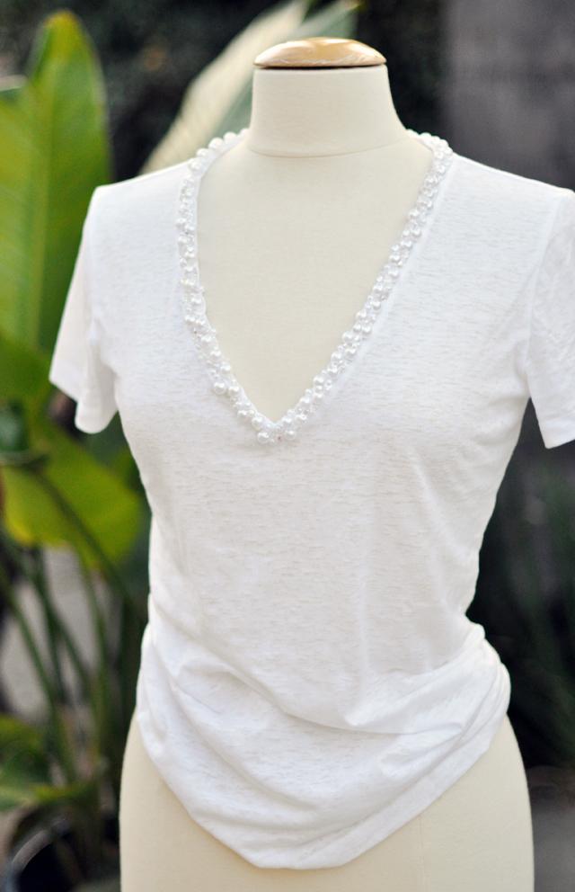 pearl v neck diy tshirt
