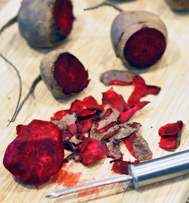 peeling beets