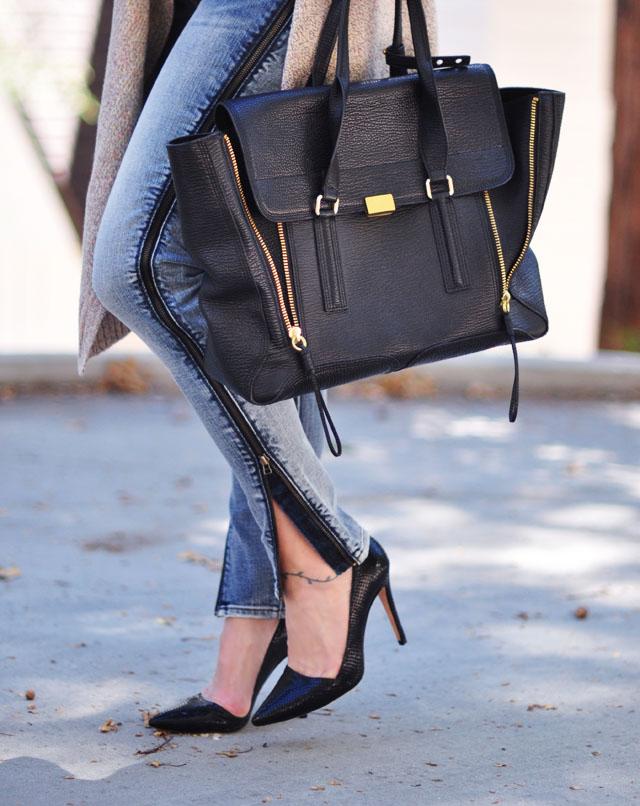 phillip lim pashli bag large- zip up jeans