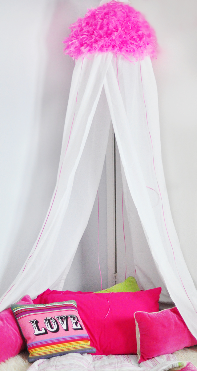 pink bed canopy for girls