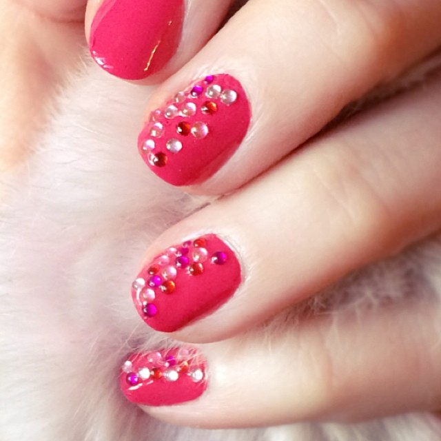 pink bejeweled nails