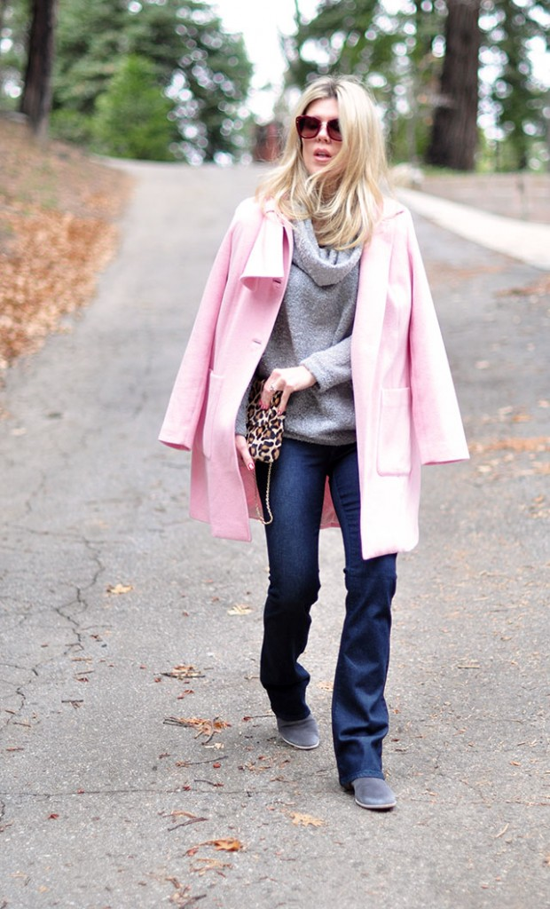 pink coat-gray sweater-boot cut jeans