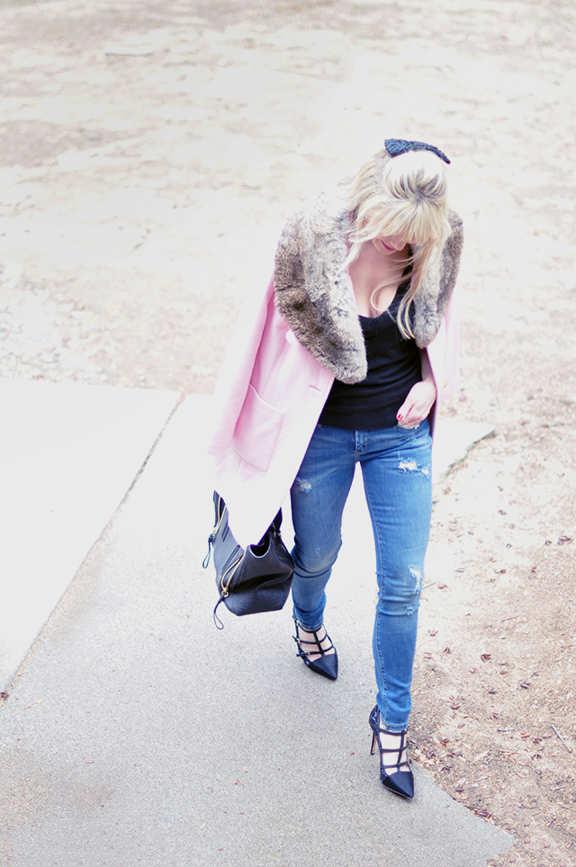 pink coat_jeans