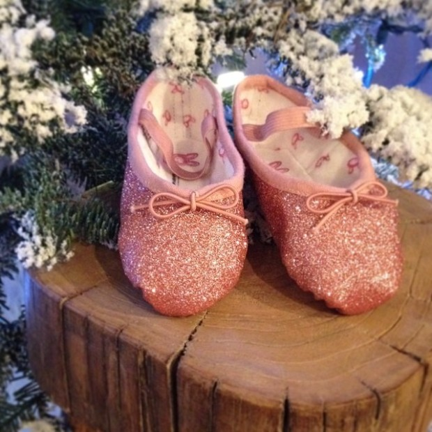 pink glitter ballet slippers